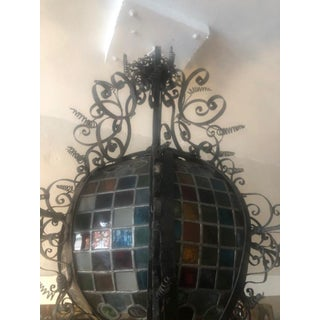 Antique French Style Metal Leaded Glass Lantern Preview