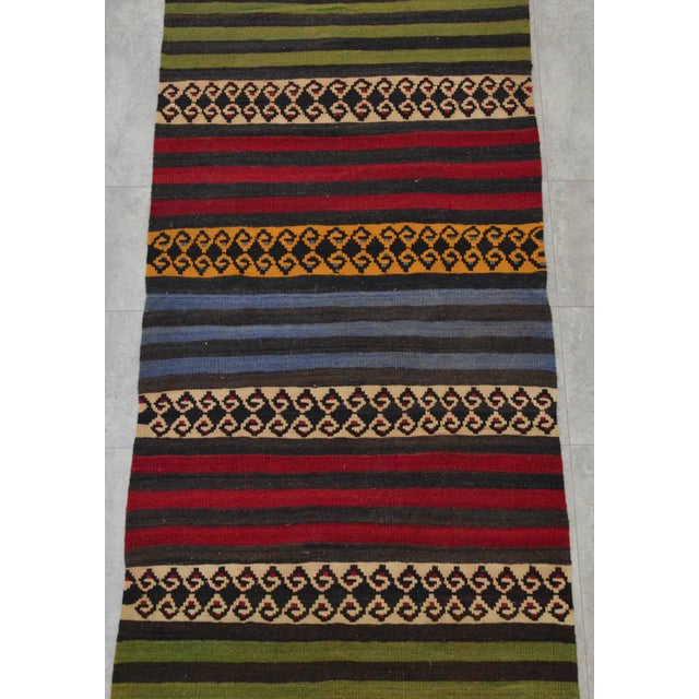 "Anatolian Wool Kilim Long Runner Rug - 2'7"" X 12'3"" - Image 7 of 9"