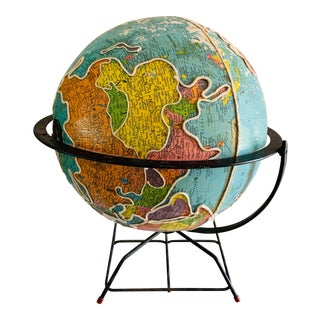 Mid-Century Modern Globe With Industrial Modern Black Metal Base For Sale