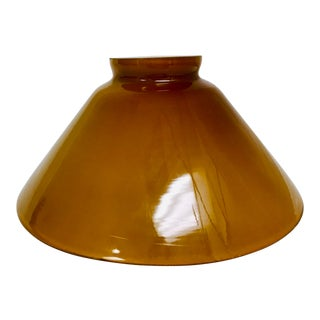 Vintage Butterscotch & White Cased Glass Industrial Pendant Shade For Sale