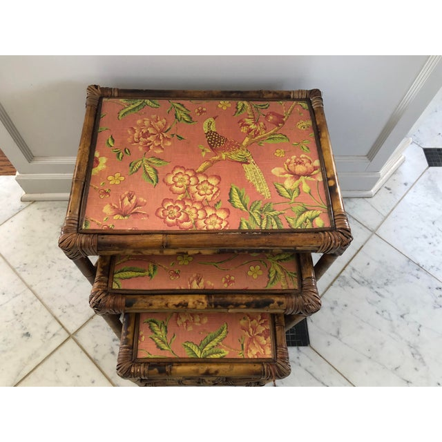 1960s Boho Chic Bamboo Nesting Tables - 3 Piece Set For Sale - Image 4 of 8