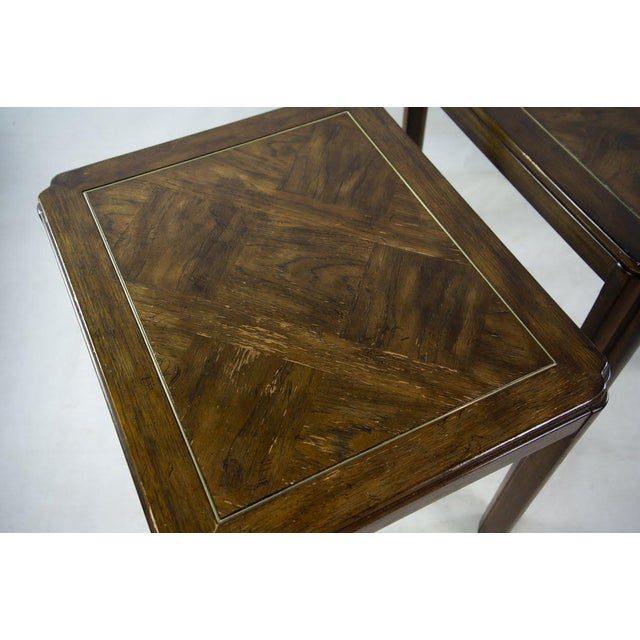 Gold Drexel Campaign Style Burl Wood Side Tables - A Pair For Sale - Image 8 of 13