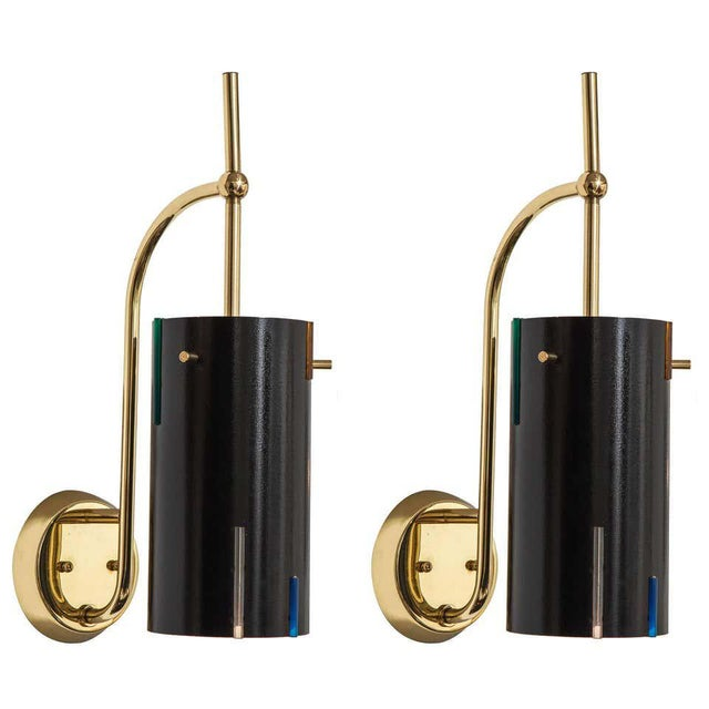 Black Mid-Century Italian Wall Sconces - a Pair For Sale - Image 8 of 8