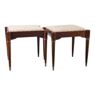 Mid-Century Modern Upholstered Wood Ottomans - a Pair For Sale