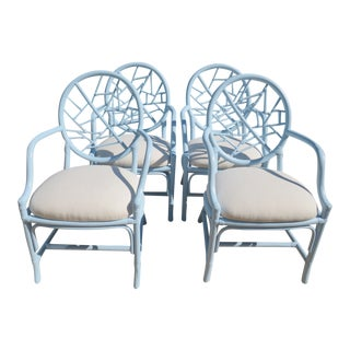 Vintage McGuire Style Cracked Ice Rattan Chairs - Set of 4 For Sale