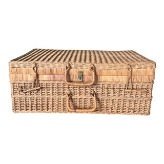 1930's Vintage Early Rattan Suitcase