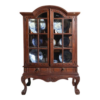 Vintage Large Javanese Hutch with Double Glass Doors and Sides For Sale
