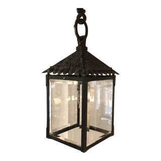 1920s Arts and Crafts Iron & Glass Hanging Lantern For Sale
