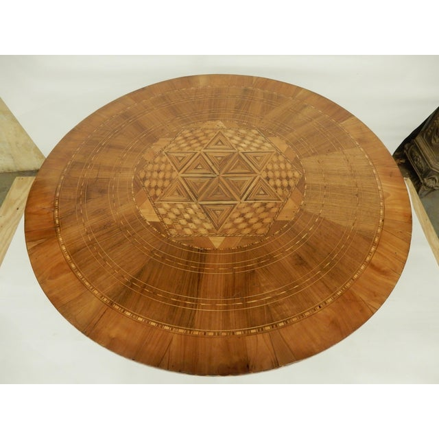 Italian 19th C. Italian Inlaid Walnut Center Hall Table For Sale - Image 3 of 7