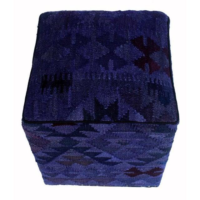 Asian Arshs Demetric Purple/Drk. Gray Kilim Upholstered Handmade Ottoman For Sale - Image 3 of 8