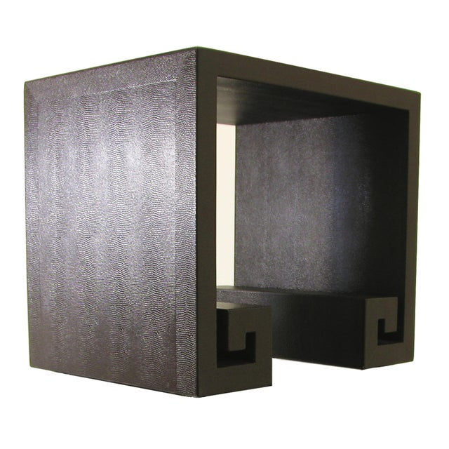 Animal Skin Modern Embossed Leather Greek-Key End Tables - a Pair For Sale - Image 7 of 7