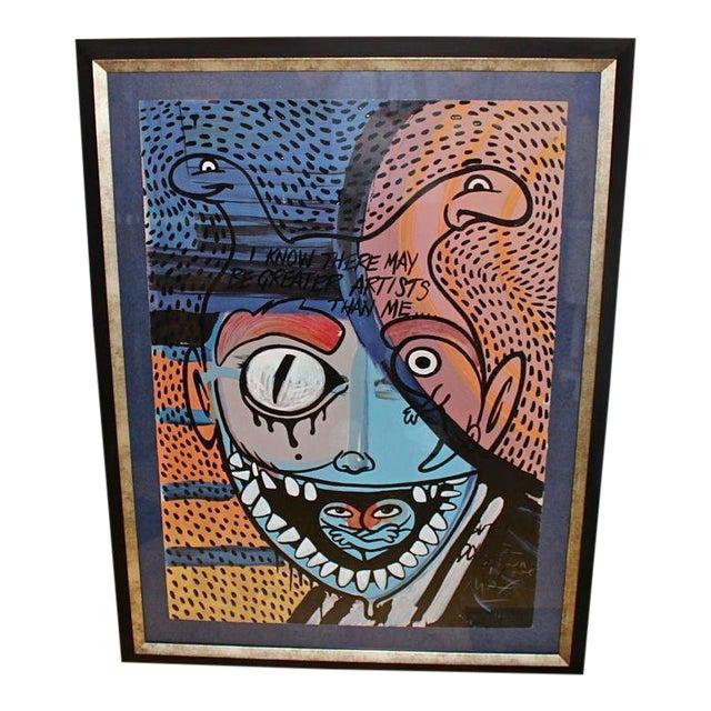 Ron English Abstract Acrylic Over a Peter Max Silkscreen For Sale