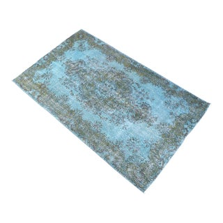 Contemporary Turkish Hand Knotted Rug Cyan Overdyed Area Rug - 3′11″ X 6′8″ For Sale