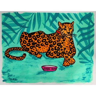 Jungle Leopard in Botanical Landscape Painting by Cleo Plowden For Sale