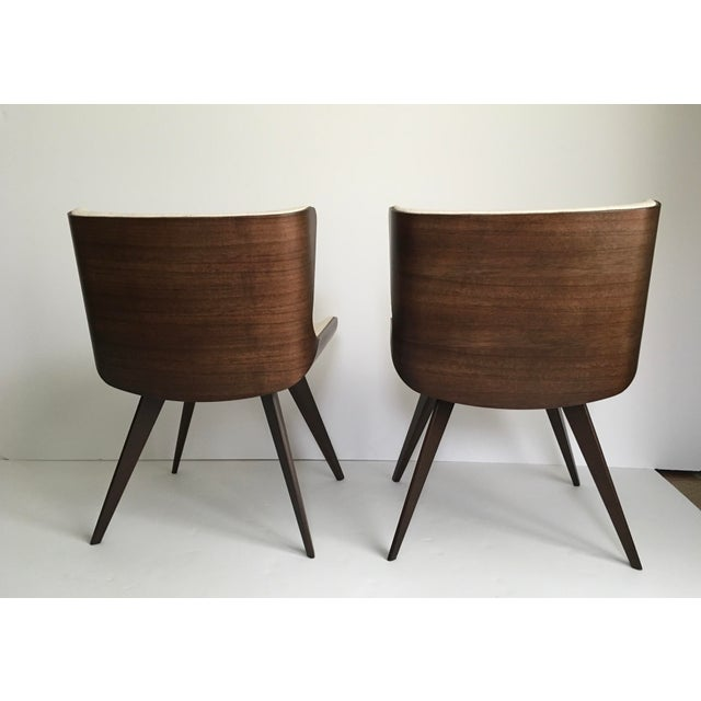 Contemporary Mid-Century Style Wood Wrapped Accent Chairs- a Pair For Sale - Image 3 of 13
