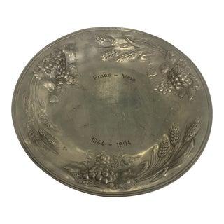 Large 1960s European Frans-Mina Pewter Platter For Sale