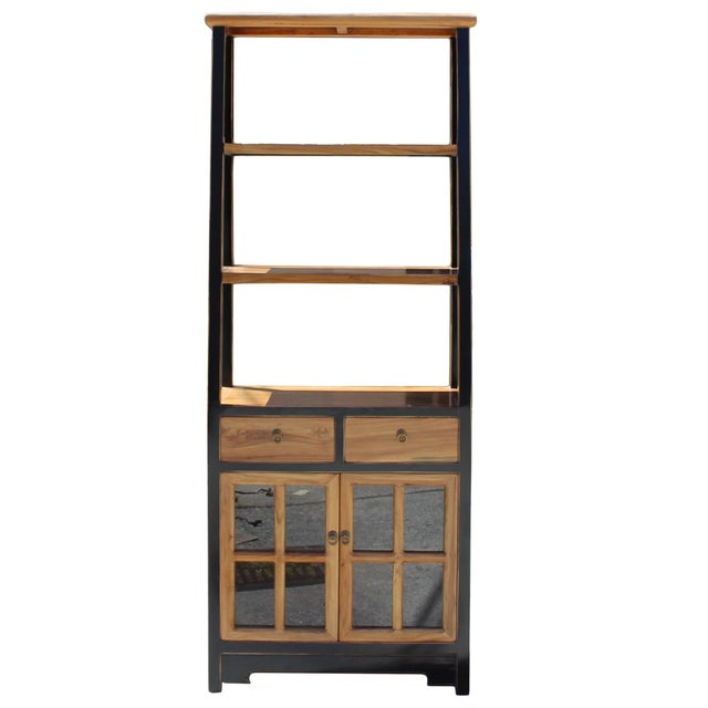 Chinese Oriental Black Brown Glass Door China Bookcase Cabinet For Sale - Image 3 of 7