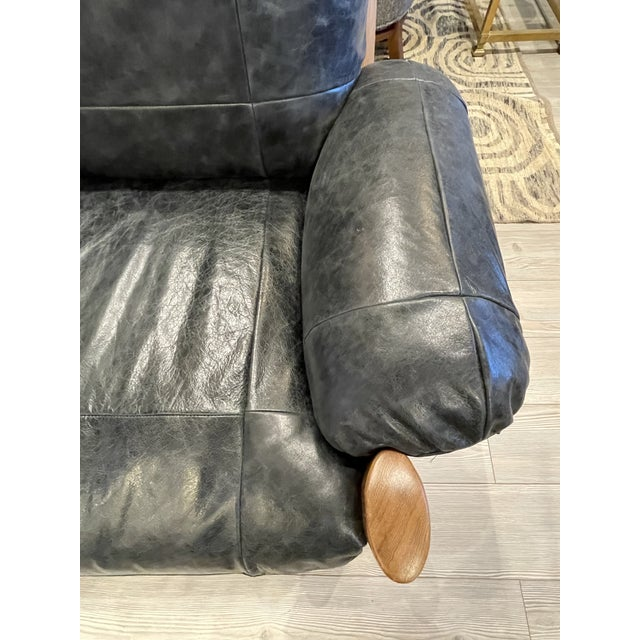 Wood MCM Danish Sofa in Black Leather For Sale - Image 7 of 13