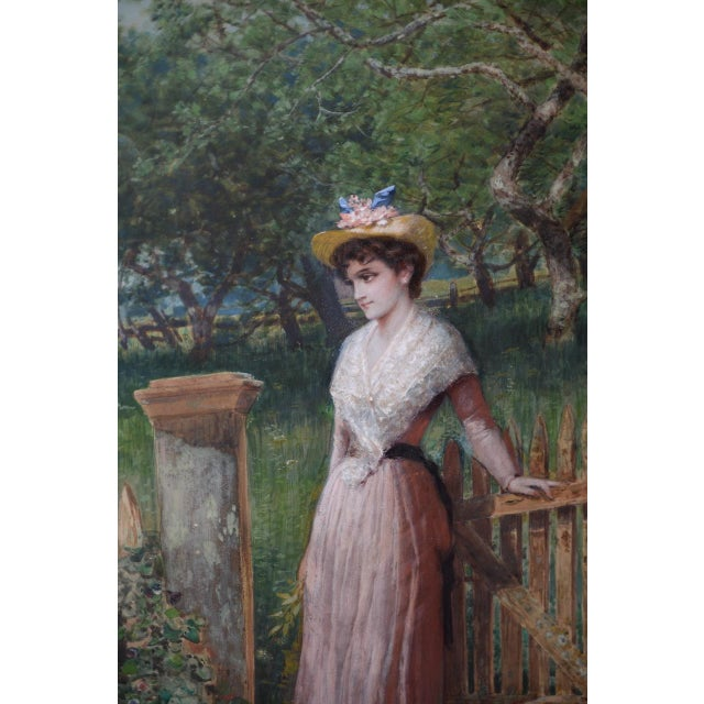 Watercolor Early 20th C. Portrait of Young Woman at Gardens Gate Watercolor Painting For Sale - Image 7 of 9