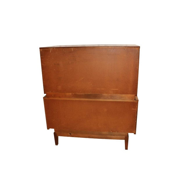 Brown United Mid Century Modern Diamond Front Tall Highboy Dresser For Sale - Image 8 of 10