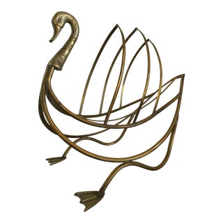 1960 Vintage Figurative Brass Swan Magazine Rack For Sale
