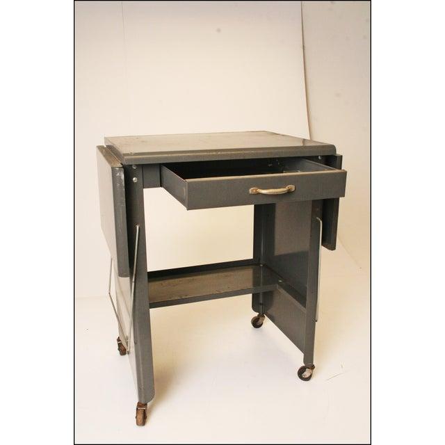 Vintage Cole Steel Industrial Gray Rolling Typewriter Table - Image 5 of 11