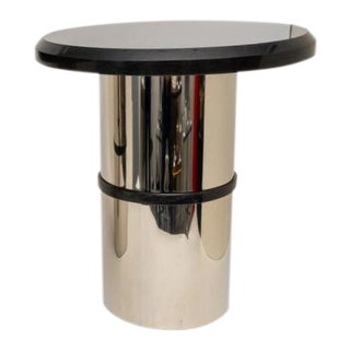 Stainless Steel and Black Granite Side Table For Sale