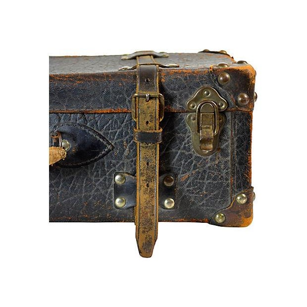 Vintage European Leather Suitcase For Sale - Image 5 of 6