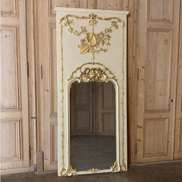 19th Century French Louis XVI Painted Trumeau Mirror For Sale - Image 12 of 13