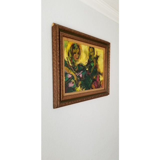 Offered for sale is a stunning mid-century figurative abstract Oil on Masonite painting, depicts two females playing...