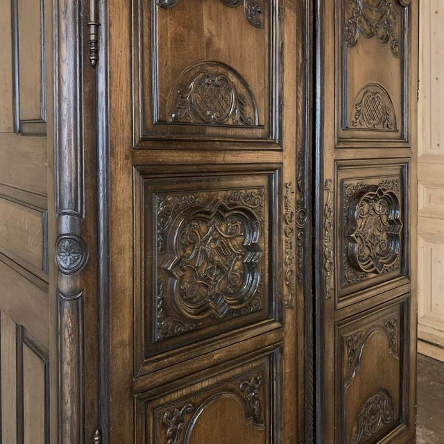 Antique French Louis XIV Walnut Armoire For Sale - Image 9 of 13