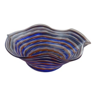 Mid Century Orange and Blue Glass Bowl