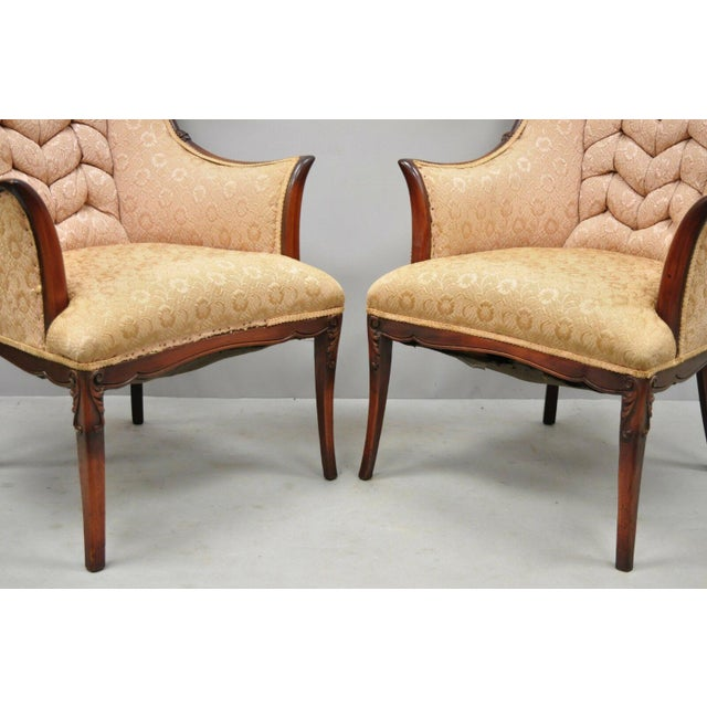 Early 20th Century Vintage Hollywood Regency French Style Mahogany Armchairs- A Pair For Sale - Image 4 of 13