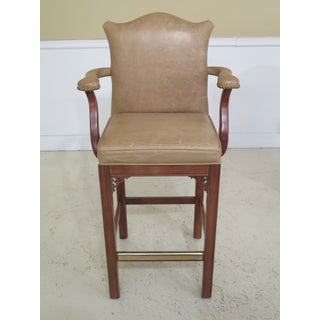 1990s Vintage Century Leather Bar Stool High Chairs- A Pair Preview