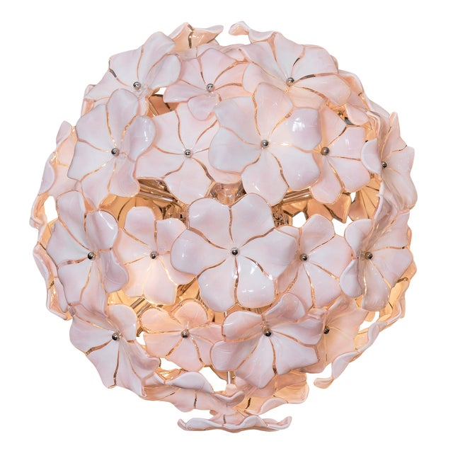 Murano Glass Pink Flower Chandelier by Cenedese For Sale