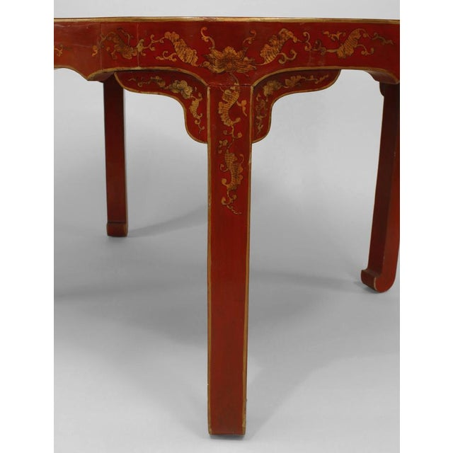 Asian Asian Chinese Oval Red Lacquer and Gilt Stencilled Center Table For Sale - Image 3 of 8