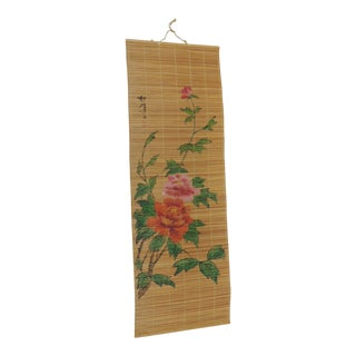 Asian Hand Painted Wall Hanging Art For Sale