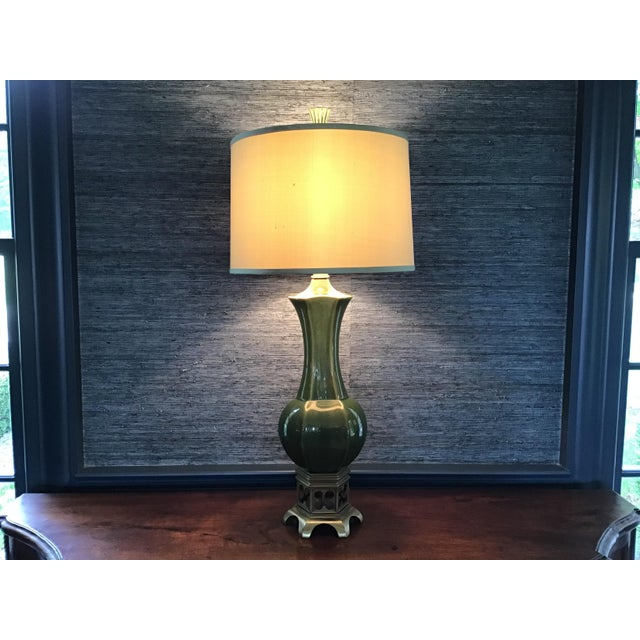 Metal Artisan Olive Green Lamps - a Pair For Sale - Image 7 of 9