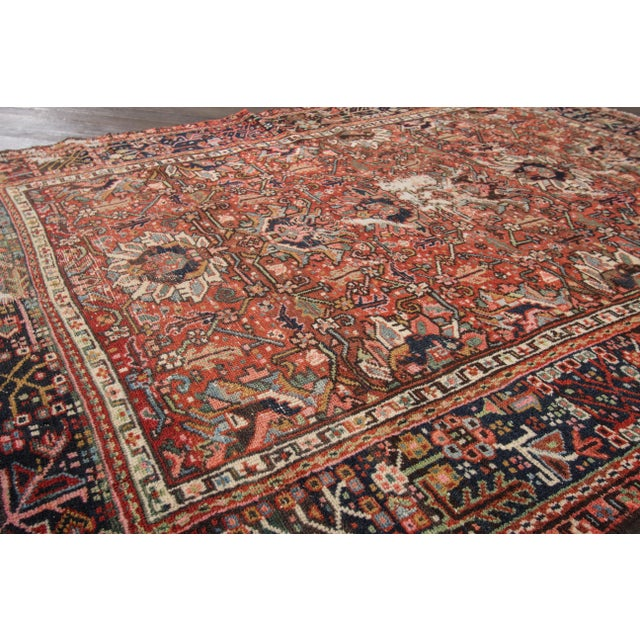"Apadana Antique Persian Heriz Rug - 4'10"" X 6' For Sale - Image 4 of 7"