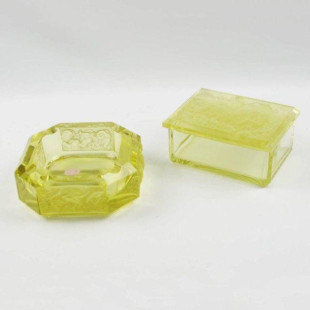 Bohemian Art Deco Vaseline Czech Glass Ashtray & Box - Image 2 of 11
