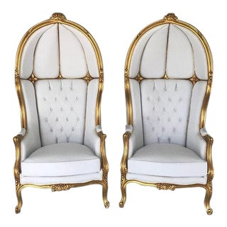 Tufted Throne Balloon Chairs - a Pair For Sale