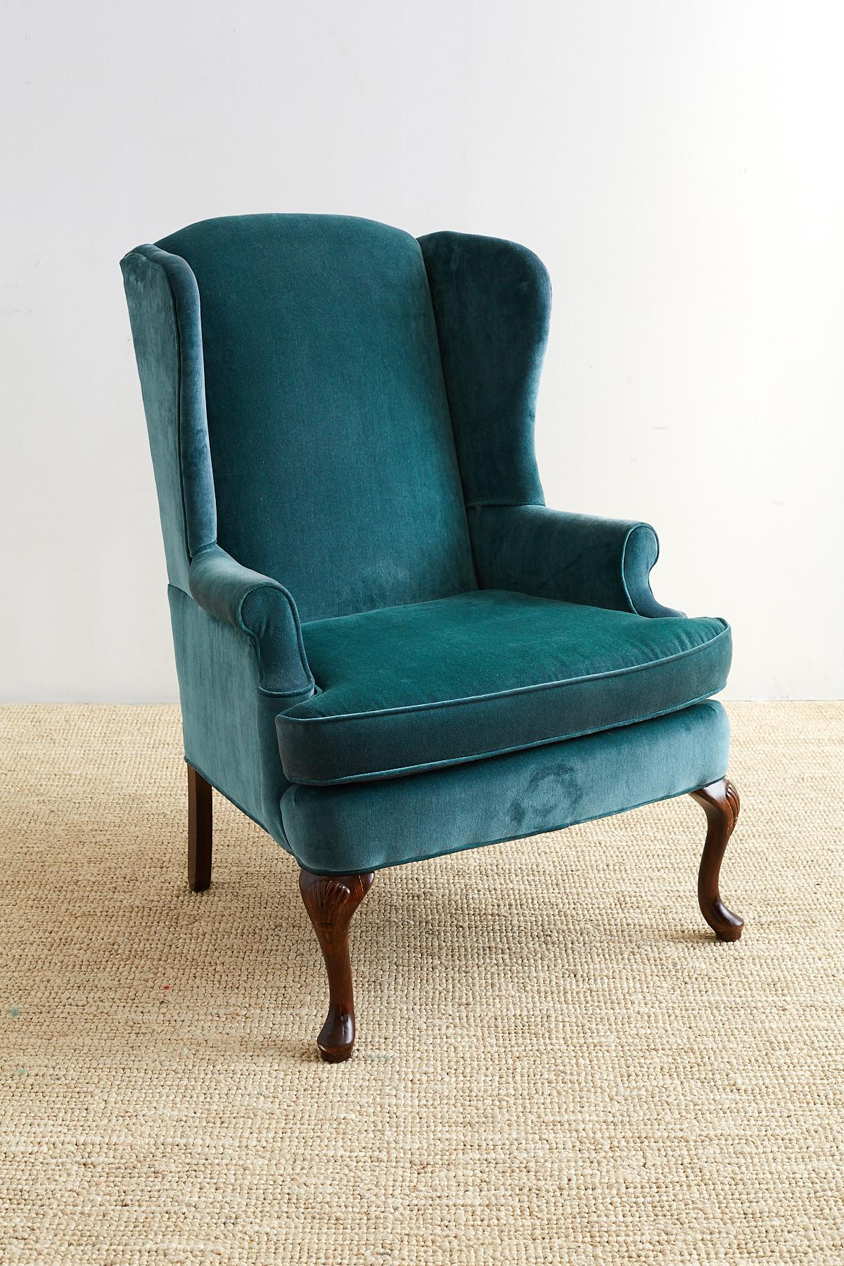 Charmant Queen Anne 20th Century Queen Anne Teal Velvet Wingback Armchair For Sale    Image 3 Of