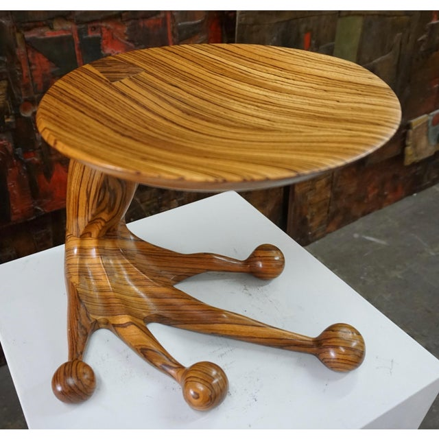 Wood Zebrawood Stool by Tim Mackaness For Sale - Image 7 of 7