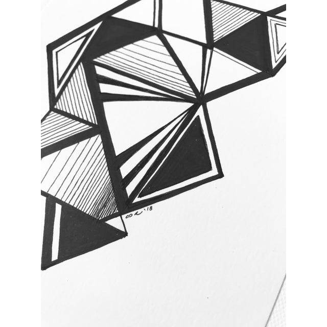 """Original Pen & Ink Drawing """"Variations on a Triangle"""" For Sale - Image 4 of 6"""