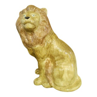 Vintage Very Large Ceramic Palm Beach Regency Lion Statue For Sale