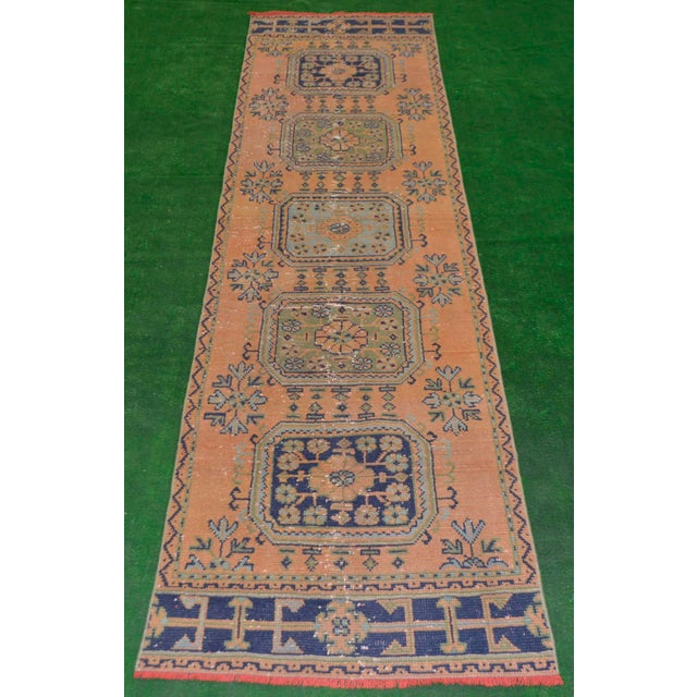 "Distressed Oushak Rug Runner - 2'11"" x 11'1"" - Image 2 of 8"