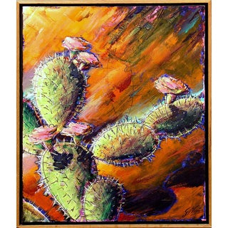 Gustavo Novoa Opuntia Cacti Signed Original Painting on Canvas For Sale
