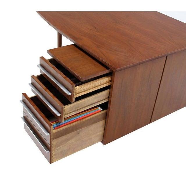 Unusual Oval Shape Walnut Partners Extra Deep Desk Long Metal Stip Shape Pulls For Sale - Image 4 of 9