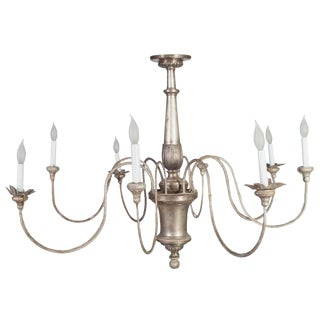 Silver Gilt Eight Arm Tole Silver Plate-Bronze Center Chandelier For Sale