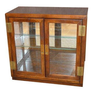 1970s Campaign Lighted Curio Console with Mirrored Back For Sale